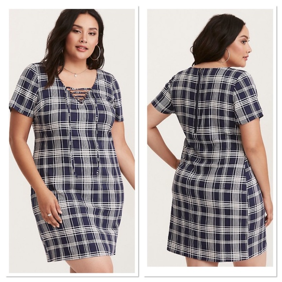d31b191e0d6 Torrid PLAID CHALLIS TIE UP FRONT SHIRT DRESS 1. M 5c42a083c89e1d83a62b4ae6